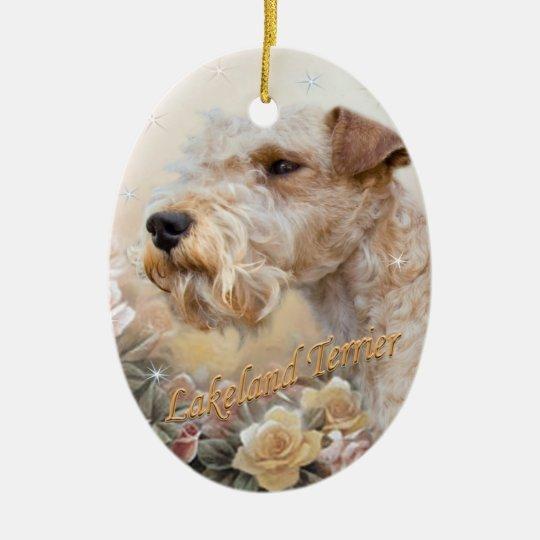 Lakeland Terrier Among Roses Christmas Ornament