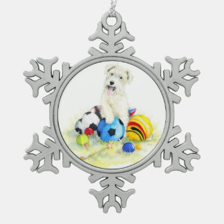 Lakeland terrier and balls snowflake pewter christmas ornament