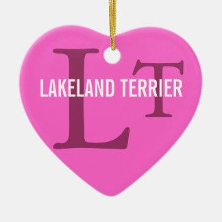 Lakeland Terrier Breed Monogram Ceramic Heart Decoration
