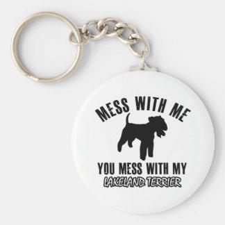 Lakeland Terrier designs Basic Round Button Key Ring