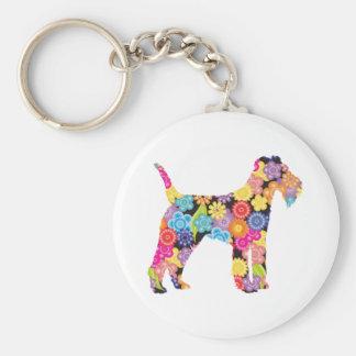 Lakeland Terrier Basic Round Button Key Ring