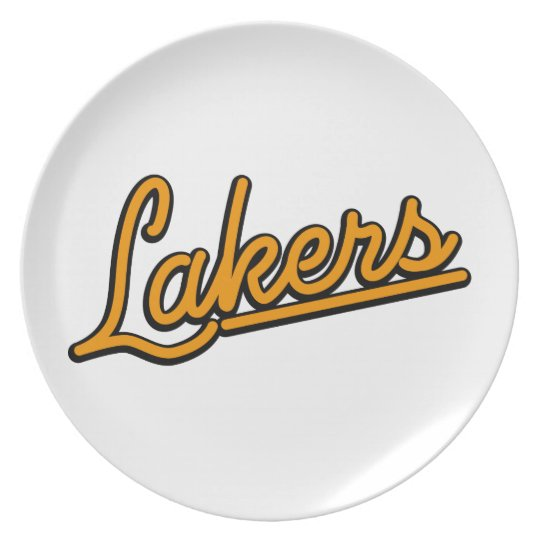Lakers in orange plate