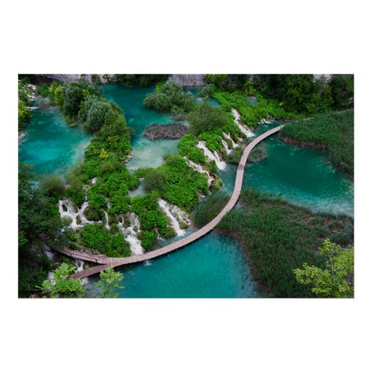 Lakes and waterfalls photo print. Plitvice Croatia Poster
