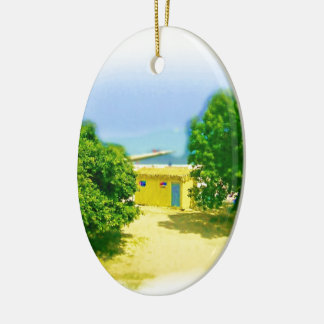 Lakeshores of the Chicago Beach Ceramic Oval Ornament