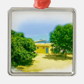 Lakeshores of the Chicago Beach Square Metal Christmas Ornament