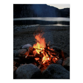 Lakeside Bonfire Poster