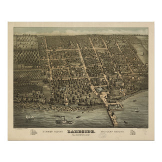 Lakeside Ohio 1884 Antique Panoramic Map Poster