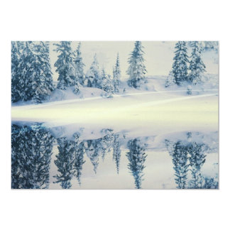 Lakeside Snow Tree Reflections 13 Cm X 18 Cm Invitation Card