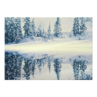 Lakeside Snow Tree Reflections Personalized Invites