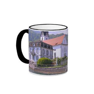 Lakeside village and church mug