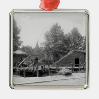 Lakeside village at the Universal Exhibition Silver-Colored Square Decoration