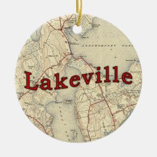 Lakeville Massachusetts Old Map Christmas Ornament