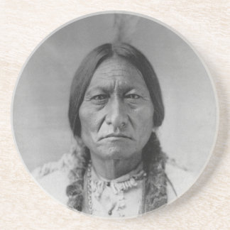 Lakota American Indian Chief Sitting Bull Sandstone Coaster