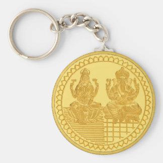 LAKSHMI AND GANESH GOLD COIN DESIGN BASIC ROUND BUTTON KEY RING