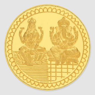 LAKSHMI AND GANESH GOLD COIN DESIGN CLASSIC ROUND STICKER