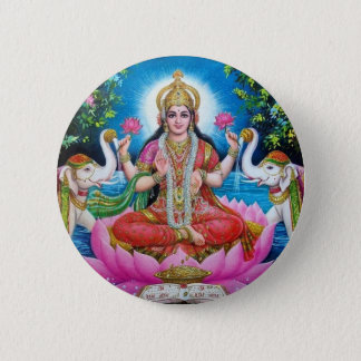 Lakshmi Goddess of Love, Prosperity, and Wealth 6 Cm Round Badge