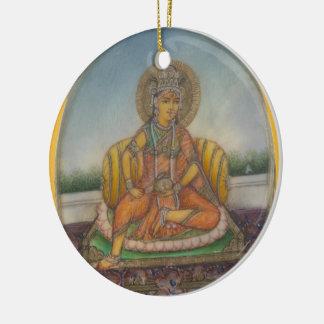 Lakshmi Goddess of Wealth Fortune and Prosperity Round Ceramic Decoration