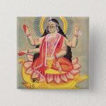 Laksmi sitting on a throne of lotus leaves, c.1890 15 cm square badge