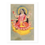 Laksmi sitting on a throne of lotus leaves, c.1890 postcard