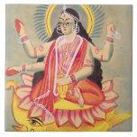 Laksmi sitting on a throne of lotus leaves, c.1890 tile