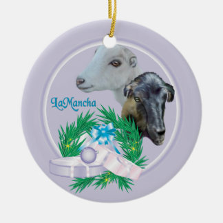 LaMancha Goat Wreath Holiday Ornament