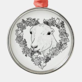 LaMancha Head in Heart Christmas Ornament