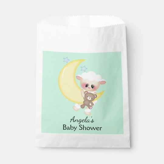 Lamb and Crescent Moon Baby Shower Favour Bags