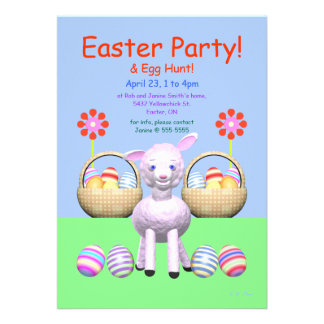 Lamb and Eggs Easter Party Custom Announcement