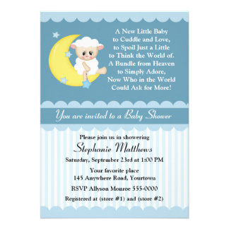 Lamb and Moon Baby Shower Card