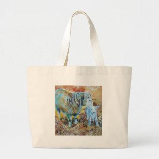 Lamb and sheep painting tote bag