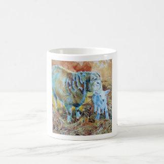 Lamb and sheep painting basic white mug