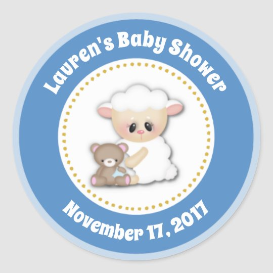 Lamb Baby Shower Favour Stickers Blue Boy