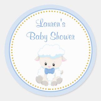 Lamb Boy Baby Shower Favor Stickers