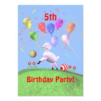 Lamb Fifth Birthday Party for Kids 13 Cm X 18 Cm Invitation Card