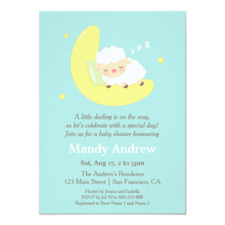 Lamb on the Moon Baby Shower Party Invitations