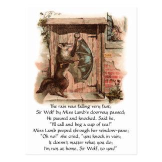 Lamb Won't Let Wolf Enter Postcard