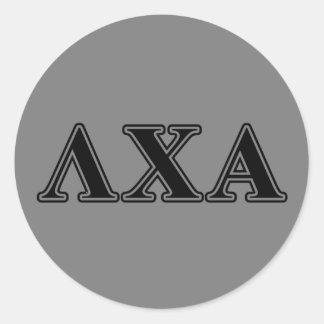 Lambda Chi Alpha Black Letters Round Sticker