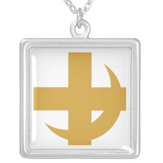 Lambda Chi Alpha Cross & Crescent Silver Plated Necklace