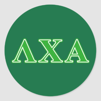 Lambda Chi Alpha Green Letters Round Sticker