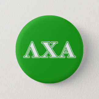 Lambda Chi Alpha White and Green Letters 6 Cm Round Badge