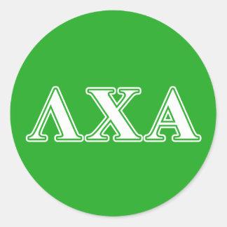 Lambda Chi Alpha White and Green Letters Classic Round Sticker
