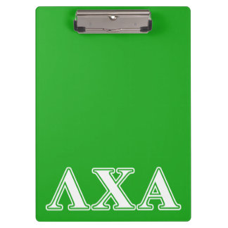 Lambda Chi Alpha White and Green Letters Clipboard