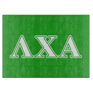 Lambda Chi Alpha White and Green Letters Cutting Board