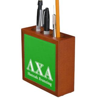 Lambda Chi Alpha White and Green Letters Desk Organiser