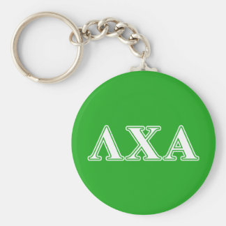 Lambda Chi Alpha White and Green Letters Key Ring