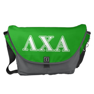 Lambda Chi Alpha White and Green Letters Messenger Bag