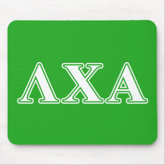 Lambda Chi Alpha White and Green Letters Mouse Mat