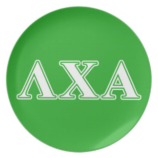 Lambda Chi Alpha White and Green Letters Plate