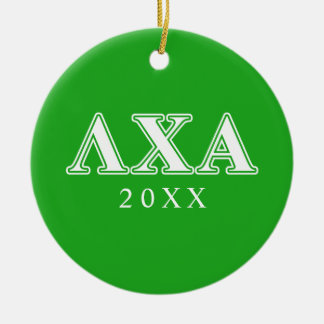 Lambda Chi Alpha White and Green Letters Round Ceramic Decoration