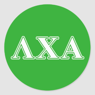 Lambda Chi Alpha White and Green Letters Round Sticker